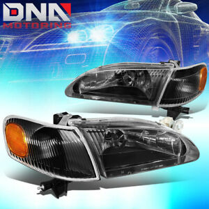 For 1998 2000 Toyota Corolla Pair Black Housing Amber Side Headlight Lamps L R
