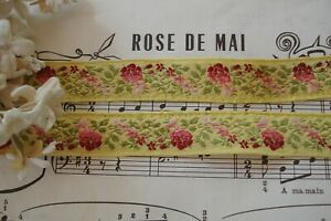 1y Vtg French 3 4 Ombre Pink Burgandy Floral Roses Yellow Jacquard Ribbon Trim