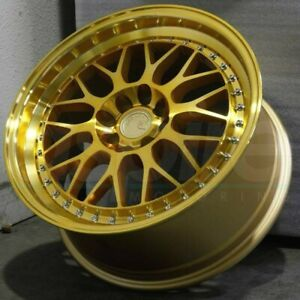 17x8 Gold Ah02 17 Wheels 4x114 4x100 35 Fits Accord Prelude Civic Rims Set