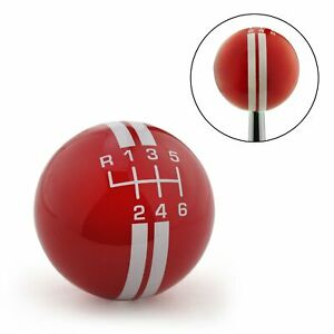 White Rally Stripe 6 Speed Shift Pattern Red Shift Knob With M16x1 5 Insert