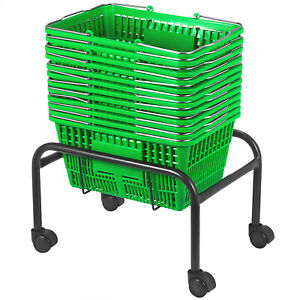 Green Plastic Shopping Basket Pack Of 12 Metal Handles Lightweight Plastic