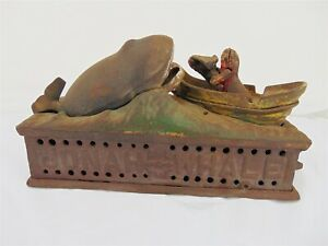 Vintage Cast Iron Hand Mechanical Coin Bank Jonah And The Whale