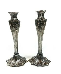 Antique Silverplate Candlesticks By Barbour International