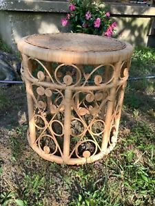 Vintage Peacock Wicker Rattan End Table Mid Century Modern Mcm Retro