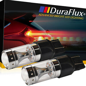 Duraflux New 7443 7440 T20 80w Cree Led Brake Tail Stop Light Bulbs Red 2000lm