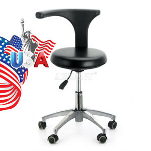 Pu Leather Dental Mobile Chair Stool Dentist Chair 360 adjustable Black