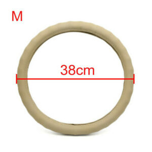 Premium Beige Color Car Steering Wheel Cover Genuine Leather 15 38cm Us
