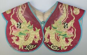 Chinese Old Hand Embroidery Gold Dragon Silk Cappa Shawl