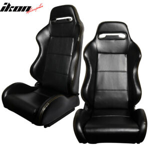 One Pair Of Racing Seats Jdm Style Black Pvc Leather W Yellow Stitch
