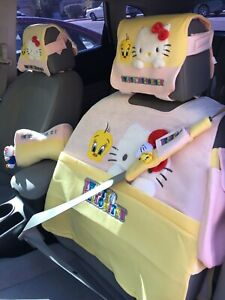 Tweety And Hello Kitty Pink Yellow Car Seat Cover And Car Accessories New