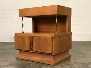 American Of Martinsville Mid Century Modern Mahogany Nightstand Two Tier