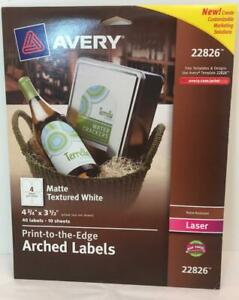 Lot 7 Avery Print To The Edge Arched Labels Matte Textured White 4 75 X 3 5
