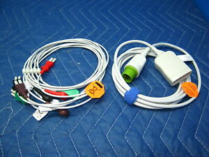 New Spacelabs Compatible 5 Lead Ekg Ecg Cable With Lead Wires 17 Pin Ultraview
