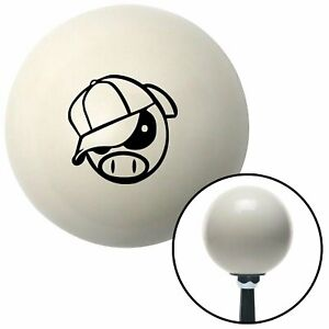Black Rally Pig Ivory Shift Knob With 16mm X 1 5 Insert Gear Wide 5 Mini Bike