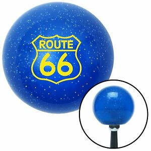 Yellow Route 66 Sign Blue Metal Flake Shift Knob Scta Matchless Rat Rod Hot Rod
