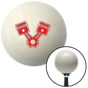 Red 2 Pistons Ivory Shift Knob With 16mm X 1 5 Insert Matchless Rhr Automotive