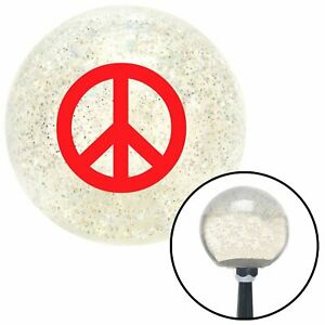 Red Peace Sign Clear Metal Flake Shift Knob With M16 X 1 5 Insert Bbc Bbc Hotrod