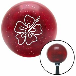 White Hawaiian Flower 8 Red Metal Flake Shift Knob With 16mm X 1 5 Insert