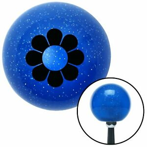 Black Flower Power Blue Metal Flake Shift Knob Project Modified Street Rod Mg Tc