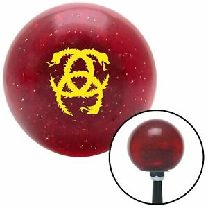 Yellow Heraldic Snakes Red Metal Flake Shift Knob With 16mm X 1 5 Insert Model A