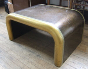 Vintage Mid Century Modern Gold Pop Art Coffee Table Seventies Space Age Sturdy