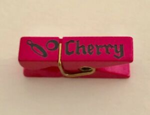 Very Unusual Realistic Clothespin Movable Wood Button Cherry Bottle
