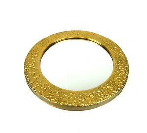 Original Mid Century Gilded Brutalist Wall Mirror Made By Jeweler