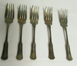 Set Of 5 Vintage 1835 R Wallace Silverplate Forks Pat Dec 29 1909