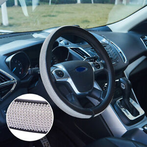 Skidproof Auto Car Steering Wheel Cover Pu Leather With Bling Rhinestone 38cm