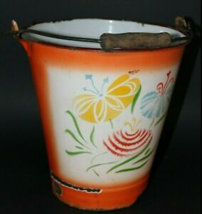 Vintage Antique Orange And Floral Metal Bucket With Handle And Wooden Grip