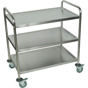 Luxor Large Three Shelf Utility Cart Stainless Steel St 3