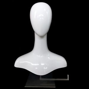 White Gloss Mannequin Hat Display Countertop Head Necklace Bust Jewelry Scarf