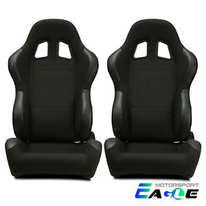 2xreclinable Black Cloth And Suede Reclinable Racing Seats Sing Adjustor Slider