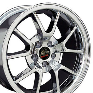 18x9 Chrome Fr500 Style Wheels Set Of 4 18 Rims Fit Mustang Gt 94 04 Oew