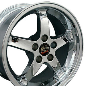 17x9 Chrome Cobra Style Wheels Set Of 4 17 Rims Fit Mustang Gt 94 04 Oew