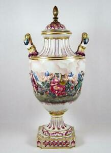 Antique Urn Bas Relief Angelic Scene Hand Painted French Porcelain 17 1 2