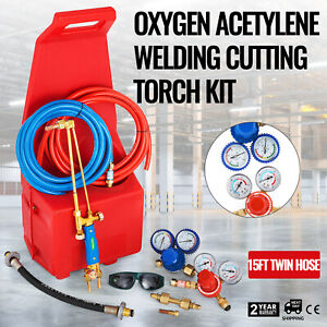 Professional Oxygen Acetylene Oxy Welding Cutting Torch Kit W red Tote