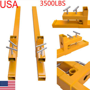 43 Clamp On Pallet Forks 3500lbs Bucket Capacity Loader Skidsteer Tractor Chain
