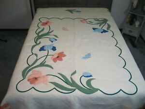 Antique Floral Applique Quilt Flower Quilt Densely Hand Quilted Hand Applique