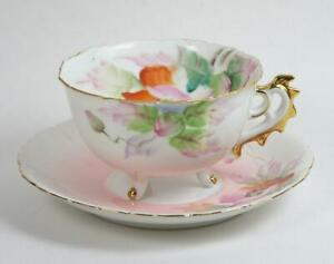 Vintage Tea Cup Hand Painted Floral Pink White Footed Ornate Handle Gold Trim