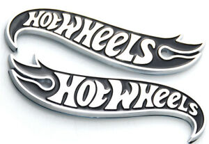 Pair Hot Wheels Black Chrome Logo Side Fender Lid Hood Badge Decal Emblem