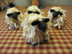 Primitive Handcrafted Grubby Sheep Ornies Shelf Sitters Country Farmhouse