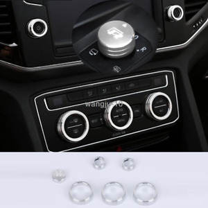 6pcs Silver Ac Cd Knob Switch Ring Cover Trim For Volkswagen Vw Tiguan 2017 2019