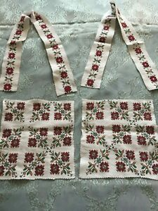 Four Beautiful Vintage Hand Embroidered Motifs