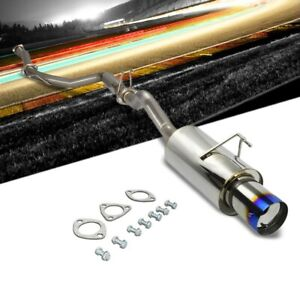 4 Burnt Muffler Tip Exhaust Catback System For 06 11 Civic Fg2 Si Coupe 2 0l
