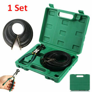 Piston Ring Compressor Cylinder Installer With Ratchet Pliers Bands Tool Set 14p