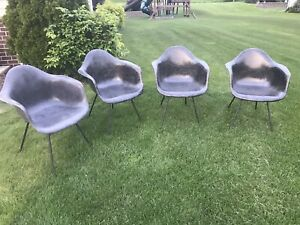 Set Of 4 Herman Miller Shell Arm Chair Mid Century Modern Fiberglass