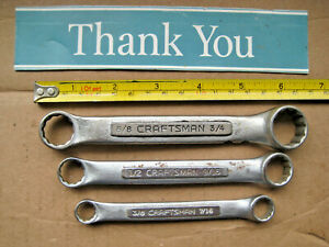 Vintage Craftsman V Series Sae Stubby Double Box End Wrench 3pc Set Made In Usa
