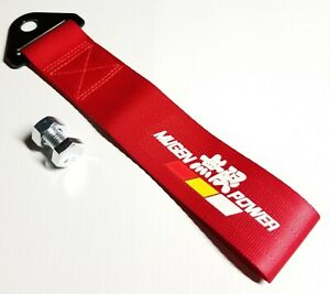 1x Red Jdm Mugen Racing Drift Rally Car Tow Towing Strap Belt Hook Universal
