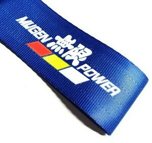 1x Blue Jdm Mugen Racing Drift Rally Car Tow Towing Strap Belt Hook Universal